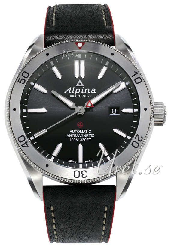 Alpina Alpiner Herreklokke AL-525BS5AQ6 Sort/Lær Ø44 mm - Alpina