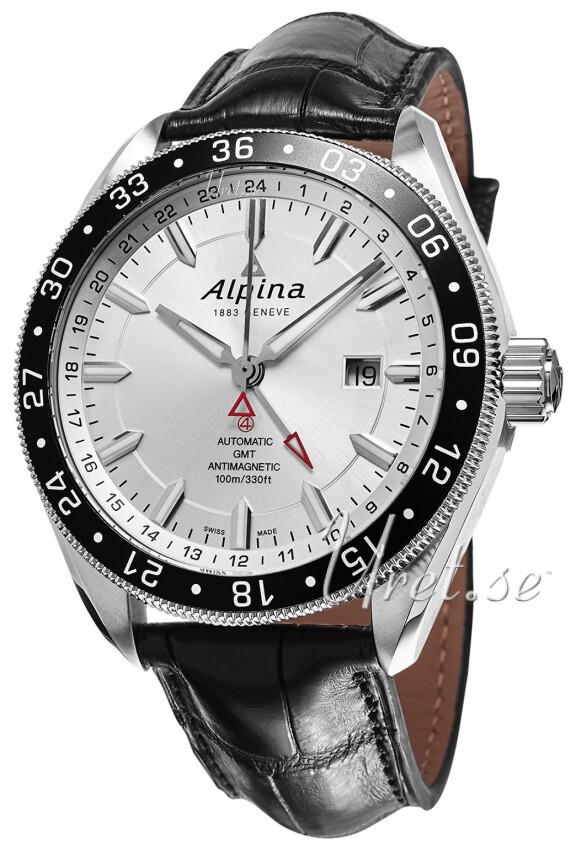 Alpina Alpiner Herreklokke AL-550S5AQ6 Sølvfarget/Lær Ø44 mm - Alpina