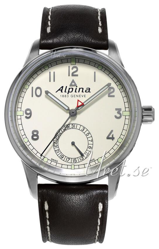 Alpina Alpiner Herreklokke AL-710KM4E6 Antikk hvit/Lær Ø41.5 mm - Alpina