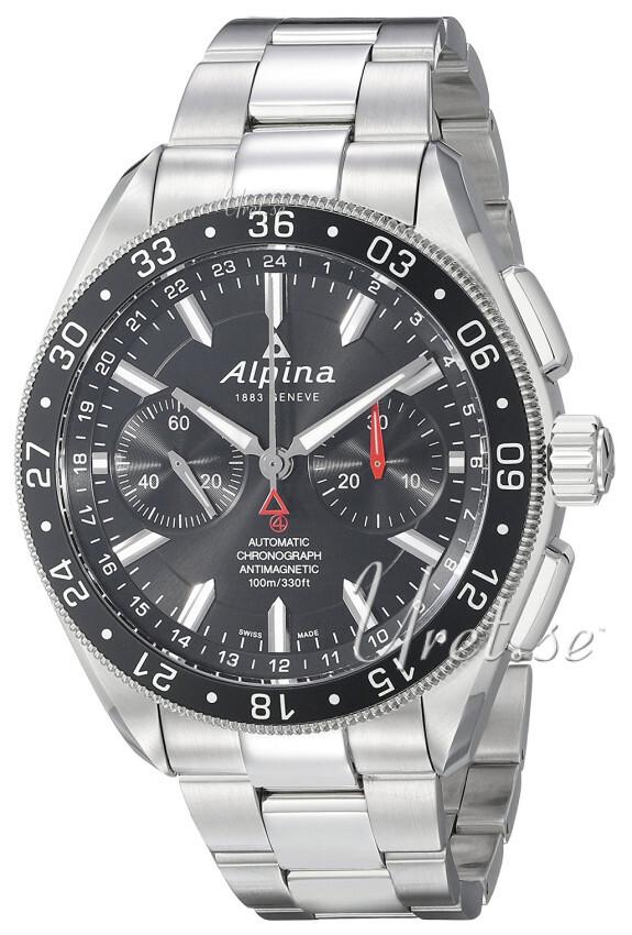 Alpina Alpiner Herreklokke AL-860B5AQ6B Sort/Stål Ø44 mm - Alpina