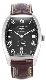 Longines Evidenza Sort/Lær Ø33.1 mm L2.642.4.51.4