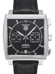 TAG Heuer Monaco Calibre 12 Automatic Chronograph Sort/Lær 39x39 mm CAW2110.FC6177
