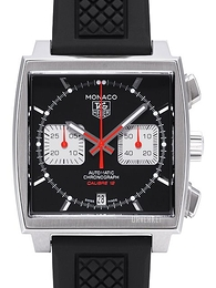 TAG Heuer Monaco Calibre 12 Automatic Chronograph Sort/Gummi 39x39 mm CAW2114.FT6021