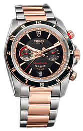 Tudor Grantour Chrono Fly-Back Sort/18 karat rosé gull Ø42 mm 20551N-95731-BIDGD