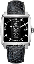 TAG Heuer Monaco Sort/Lær 37x37 mm WW2117.FC6216