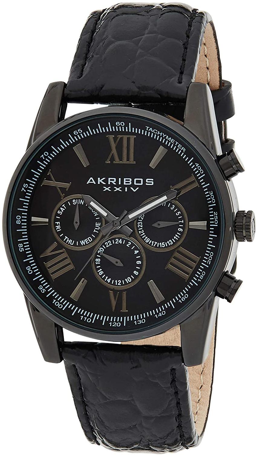 Akribos XXIV Multi-Function Herreklokke AK864BK Sort/Lær Ø41 mm - Akribos XXIV