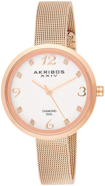 Akribos XXIV Diamond Dameklokke AK875RG Hvit/Rose-gulltonet stål - Akribos XXIV