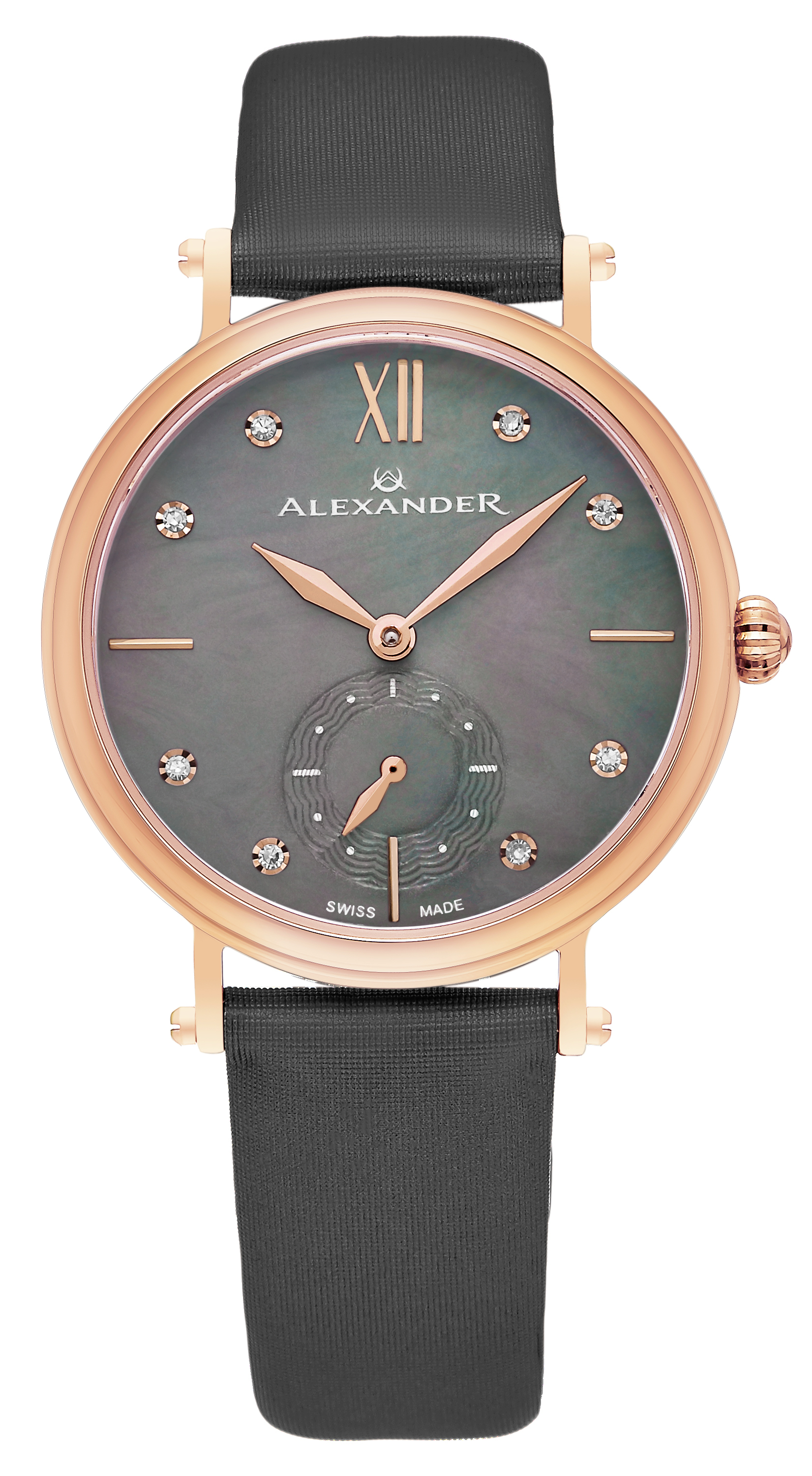 Alexander Monarch Dameklokke AD201-04 Sort/Sateng Ø34 mm - Alexander