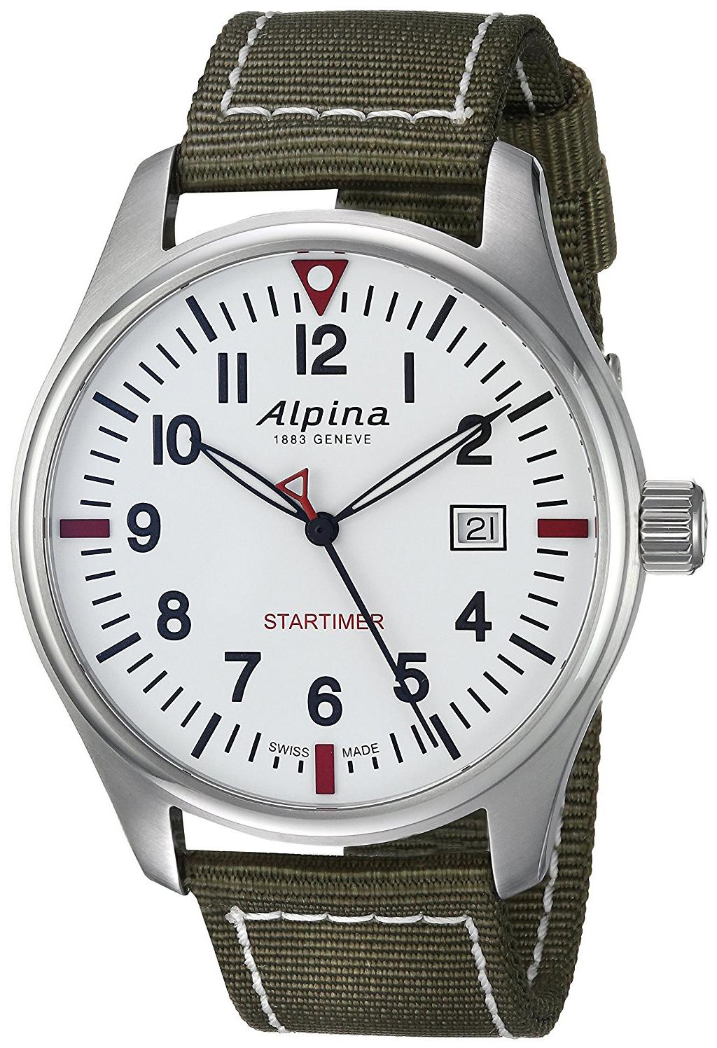 Alpina Startimer Herreklokke AL-240S4S6 Hvit/Tekstil Ø42 mm - Alpina