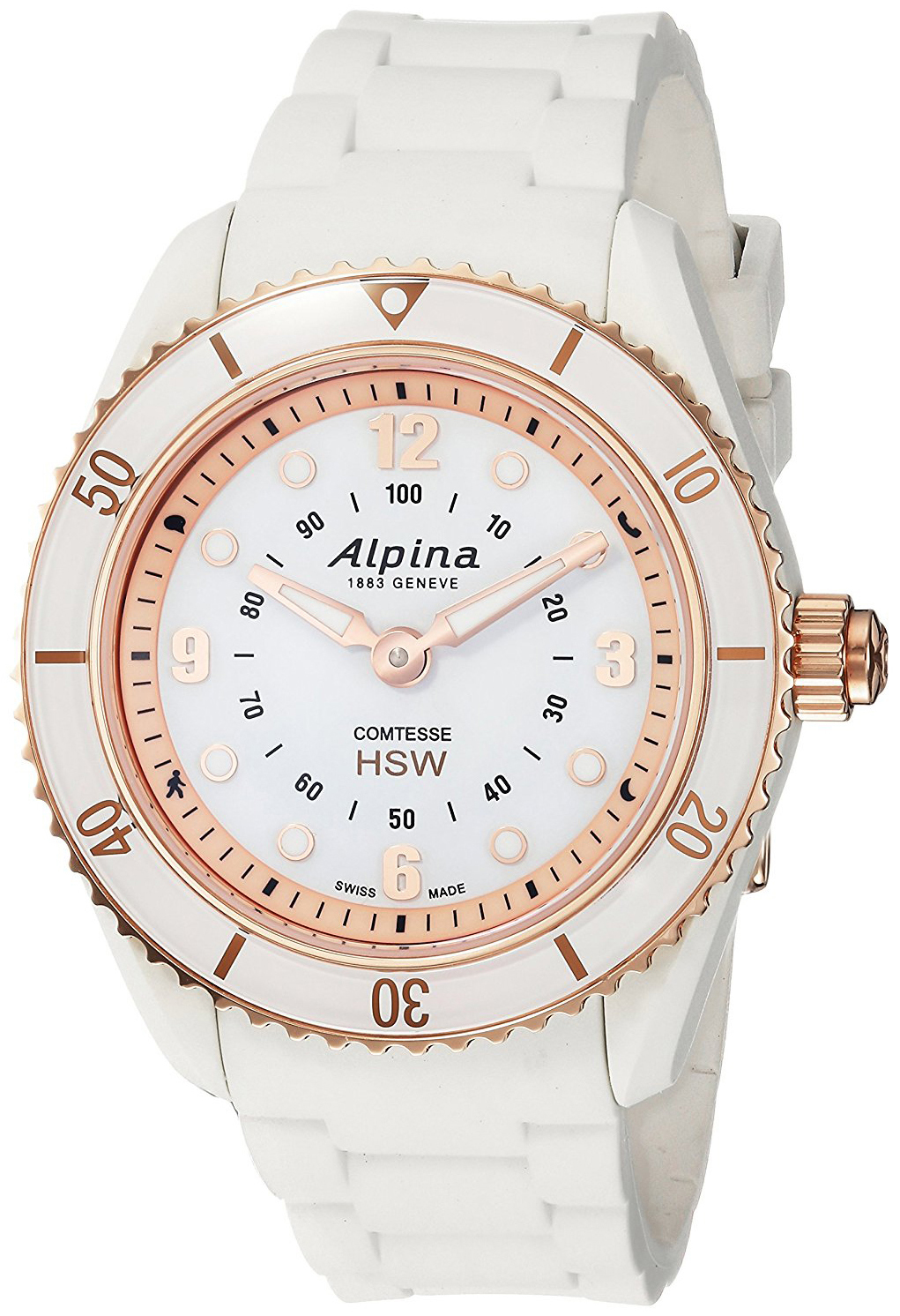 Alpina Horological Smartwatch Dameklokke AL-281WY3V4 Hvit/Gummi Ø36 - Alpina