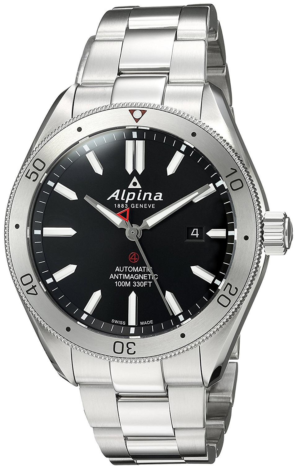Alpina Alpiner Herreklokke AL-525BS5AQ6B Sort/Stål Ø44 mm - Alpina