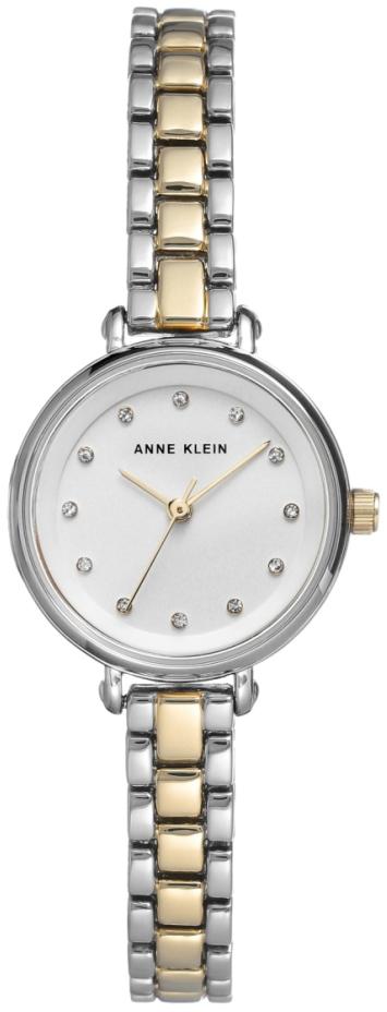 Anne Klein Crystal Dameklokke AK/2663SVTT Hvit/Gulltonet stål Ø25 mm - Anne Klein