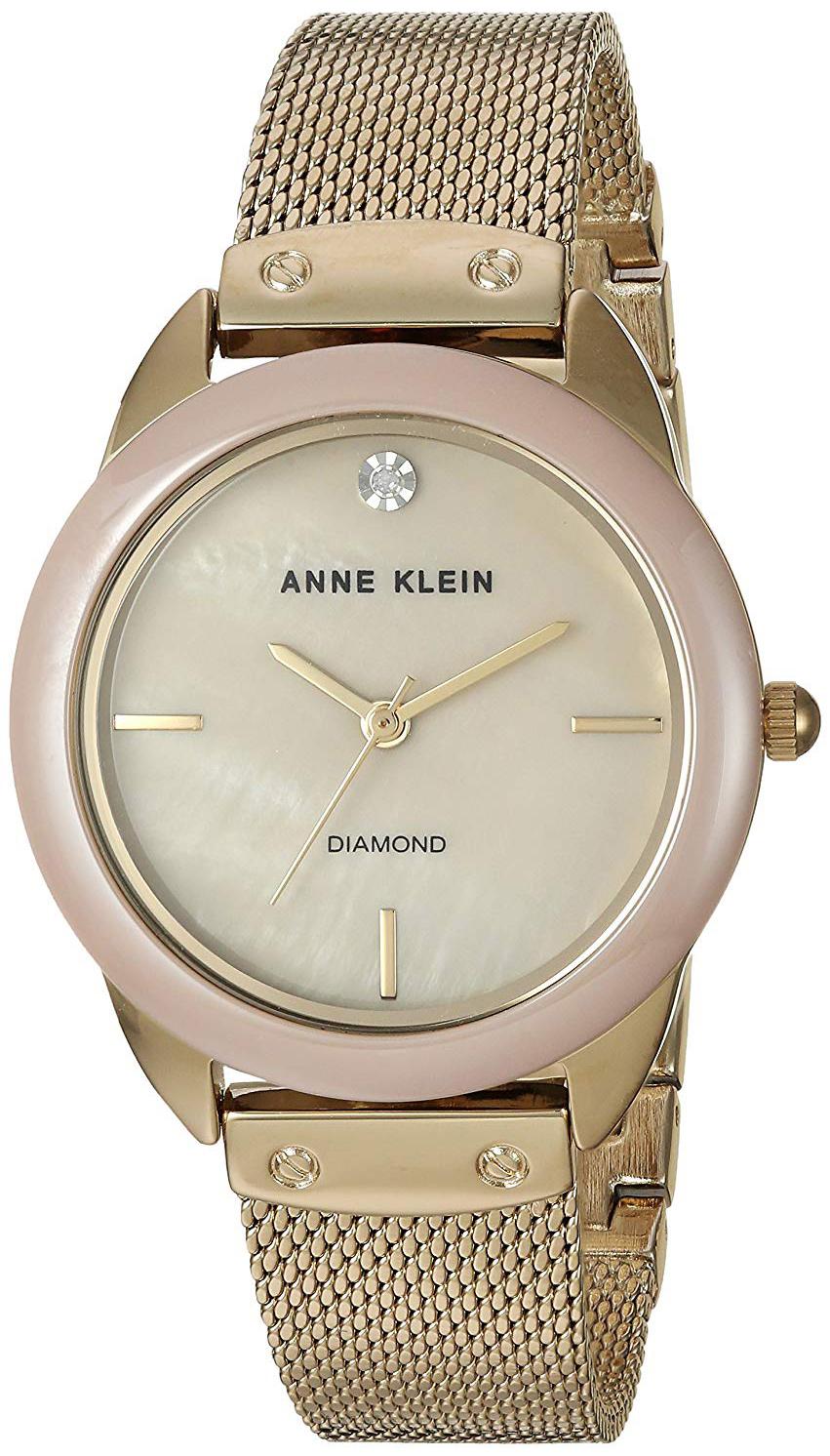 Anne Klein Diamond Dameklokke AK/3258TNGB Beige/Gulltonet stål Ø32 - Anne Klein