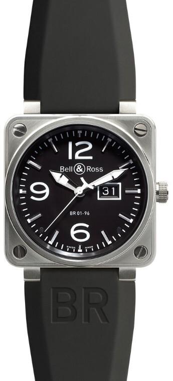 Bell & Ross BR 01-96 Herreklokke BR0196-BL-ST Sort/Gummi Ø46 mm - Bell & Ross