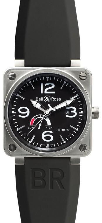Bell & Ross BR 01-97 Herreklokke BR0197-BL-ST Sort/Gummi Ø46 mm - Bell & Ross