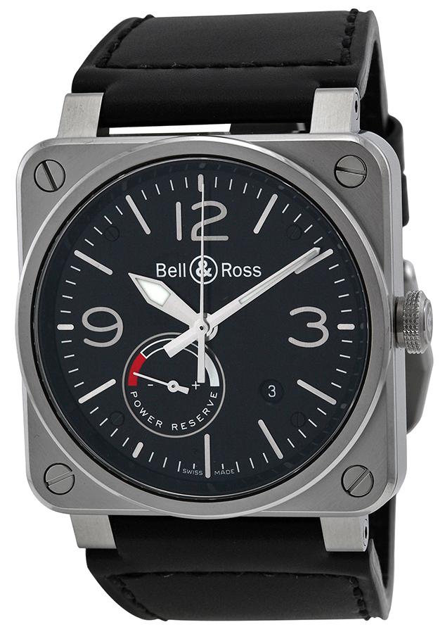 Bell & Ross BR 03-97 Herreklokke BR0397-BL-SI-SCA Sort/Lær - Bell & Ross
