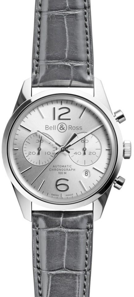 Bell & Ross BR 126 Herreklokke BRG126-WH-ST-SCR Sølvfarget/Lær - Bell & Ross