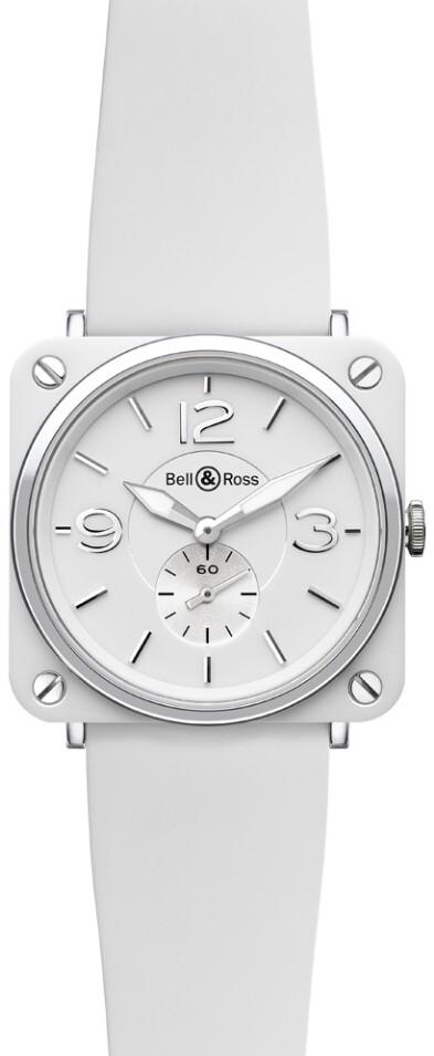 Bell & Ross BR S Quartz Herreklokke BRS-WH-CERAMIC-SRB Hvit/Gummi - Bell & Ross