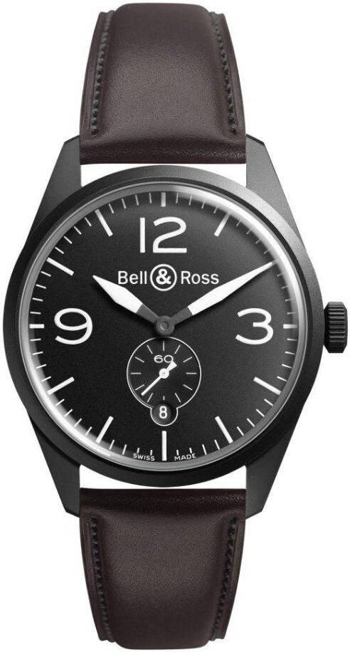 Bell & Ross BR 123 Herreklokke BRV123-BL-CA-SCA Sort/Lær Ø41 mm - Bell & Ross