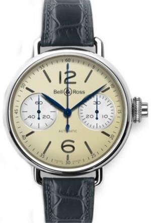 Bell & Ross WW1 Herreklokke BRWW1-MONO-IVO-SCR Antikk hvit/Lær - Bell & Ross