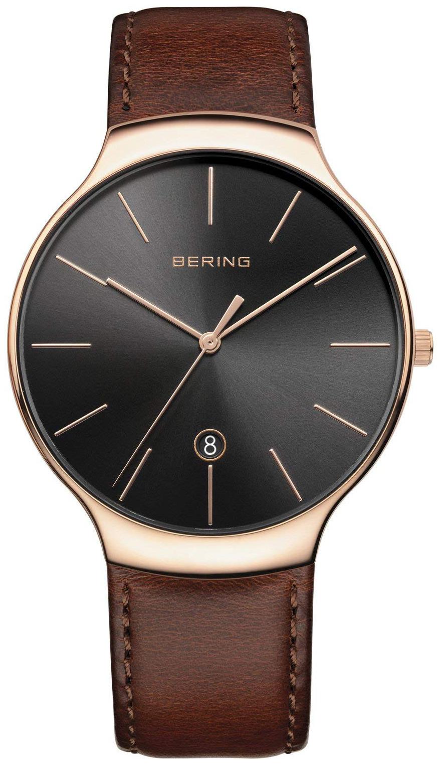 Bering Classic 13338-562 Sort/Lær Ø38 mm - Bering