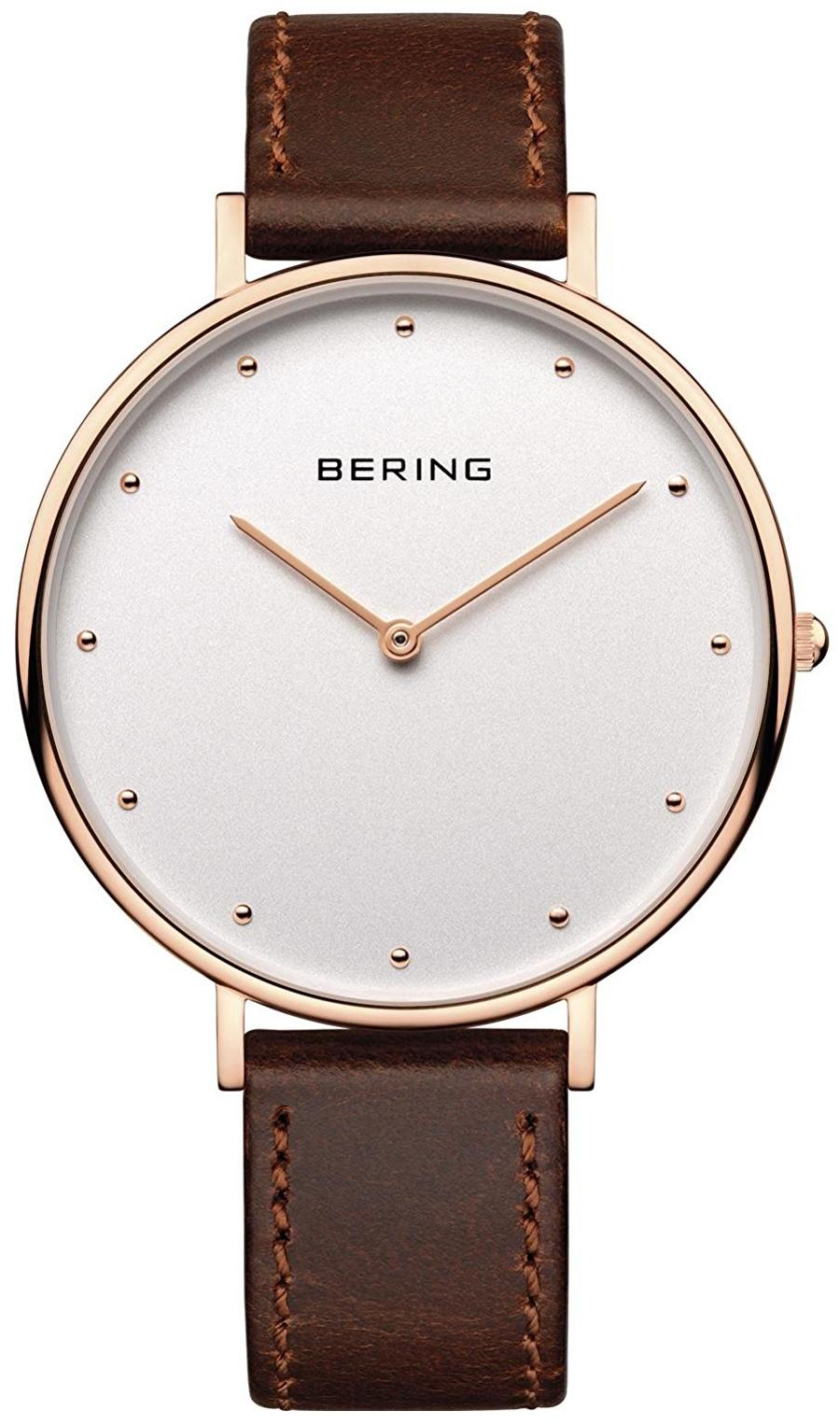 Bering Classic 14839-564 Hvit/Lær Ø39 mm - Bering