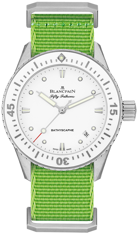 Blancpain Fifty Fathoms Dameklokke 5100-1127-NAHA Hvit/Tekstil Ø38 mm - Blancpain