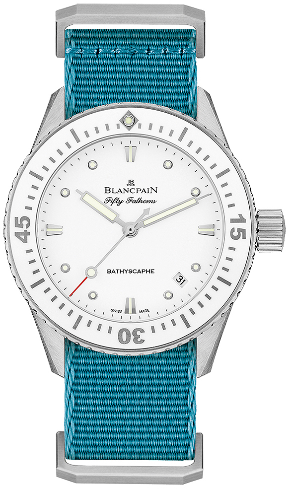 Blancpain Fifty Fathoms Dameklokke 5100-1127-NATA Hvit/Tekstil Ø38 mm - Blancpain