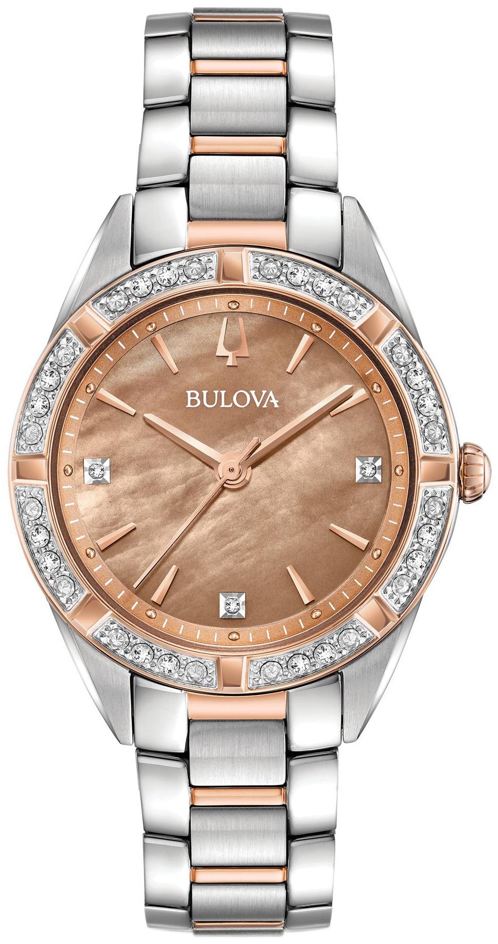 Bulova Diamond Dameklokke 98R264 Bronsefarget/Rose-gulltonet stål - Bulova
