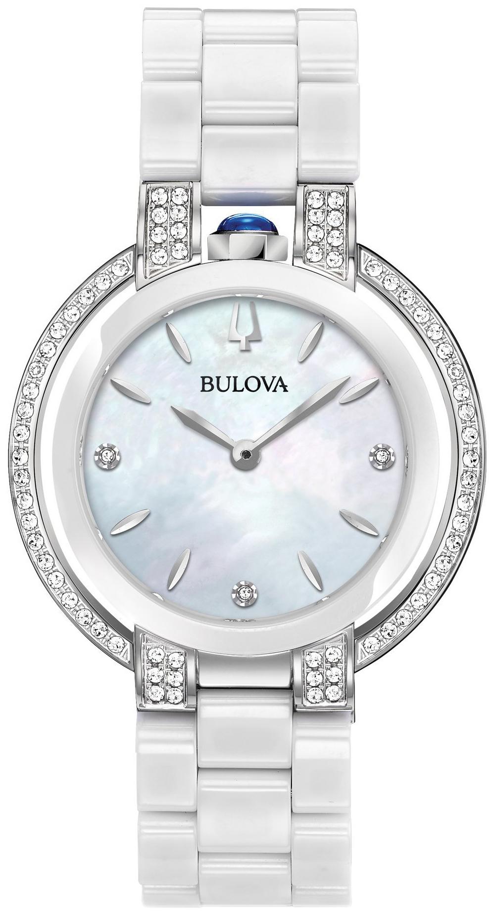 Bulova Diamond Dameklokke 98R265 Hvit/Keramik Ø35 mm - Bulova