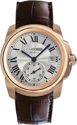 Cartier Calibre de Cartier Herreklokke WGCA0003 Sølvfarget/Lær Ø38 - Cartier
