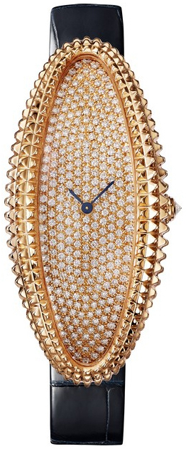 Cartier Baignoire Dameklokke WJBA0016 Diamantsmykket/Lær - Cartier