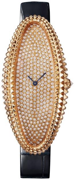 Cartier Baignoire Dameklokke WJBA0017 Diamantsmykket/Lær - Cartier