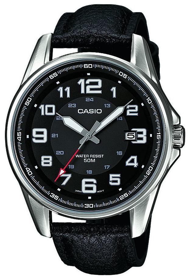Casio Casio Collection Herreklokke MTP-1372L-1BVEF Sort/Lær Ø43 mm - Casio