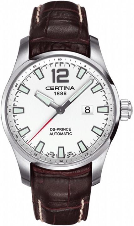 Certina DS Prince Herreklokke C008.426.16.037.00 Sølvfarget/Lær - Certina