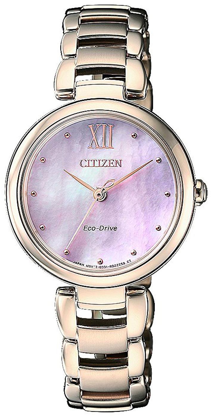 Citizen Elegance Dameklokke EM0533-82Y Rosa/Rose-gulltonet stål - Citizen