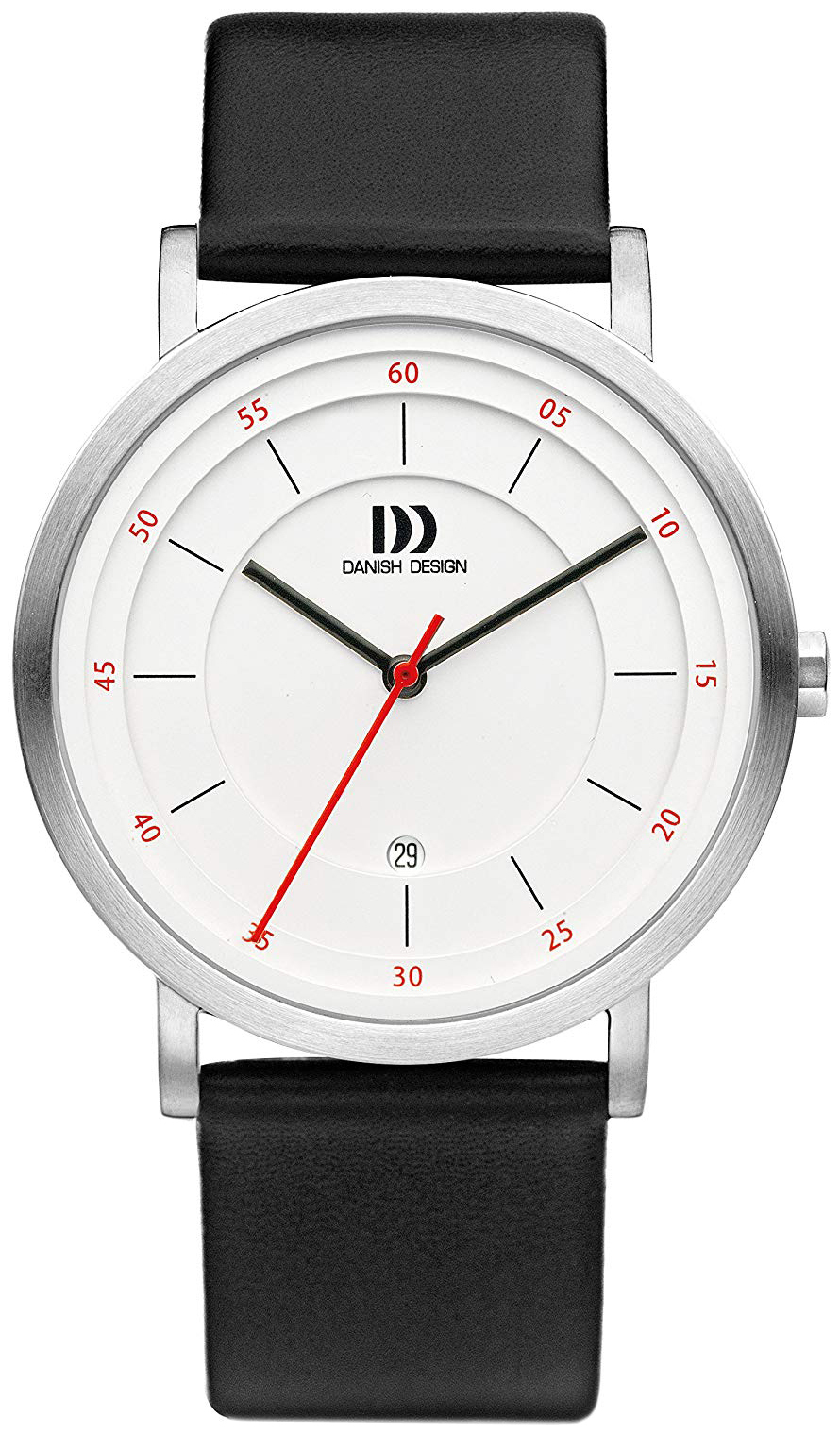 Danish Design Classic Herreklokke IQ12Q1152 Hvit/Lær Ø42 mm - Danish Design