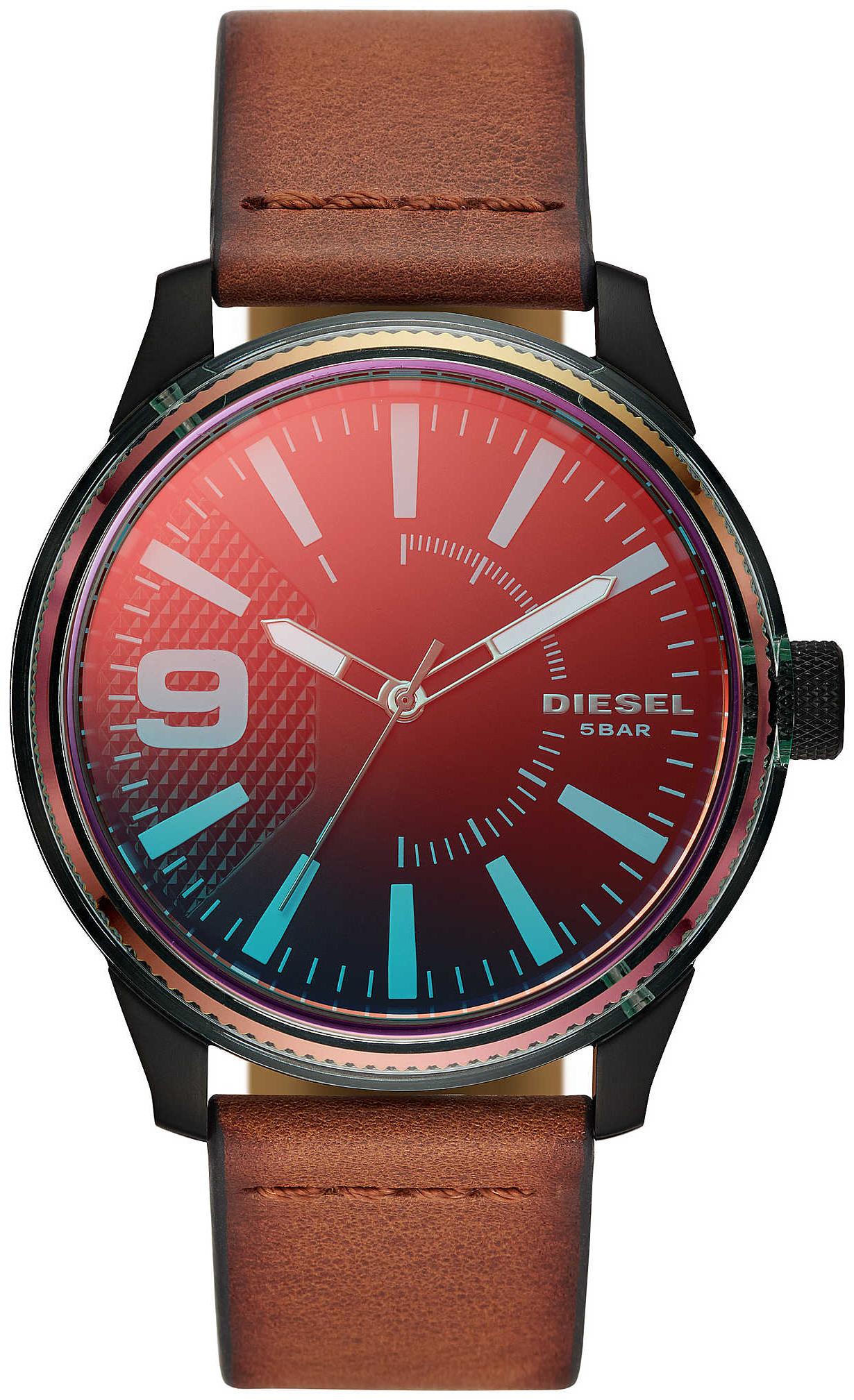 Diesel Rasp Nsbb Herreklokke DZ1876 Rød/Lær Ø46 mm - Diesel