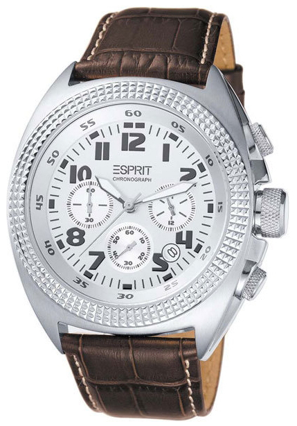 Esprit Sport Herreklokke ES900491002 Sølvfarget/Lær Ø47 mm - Esprit