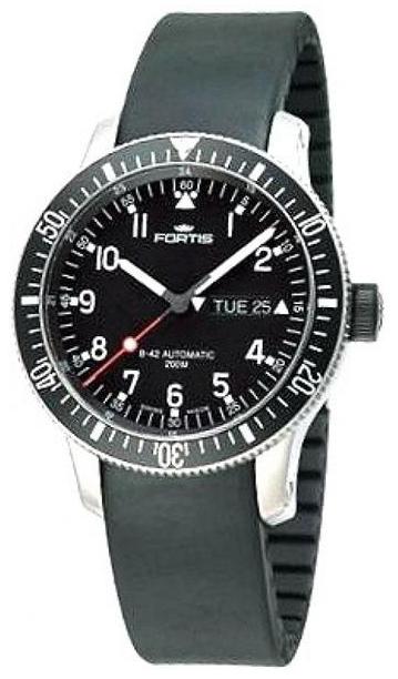 Fortis B-42 Official Cosmonauts Herreklokke 647.10.11.K Sort/Gummi - Fortis
