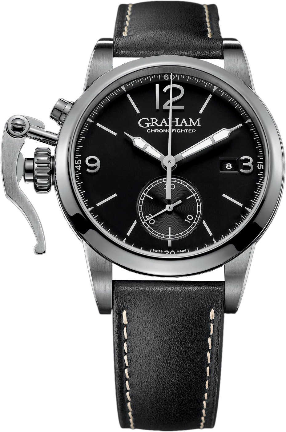 Graham Chronofighter Herreklokke 2CXAS.B02A Sort/Lær Ø42 mm - Graham