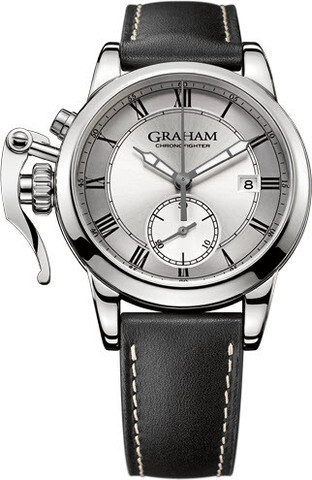 Graham Chronofighter Herreklokke 2CXAY.S05A Sølvfarget/Lær Ø42 mm - Graham