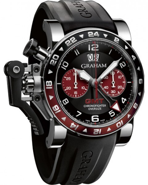 Graham Chronofighter Oversize Herreklokke 2OVGS.B20A Sort/Gummi Ø47 - Graham