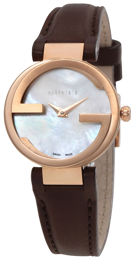 Gucci Interlocking Dameklokke YA133516 Hvit/Lær Ø29 mm