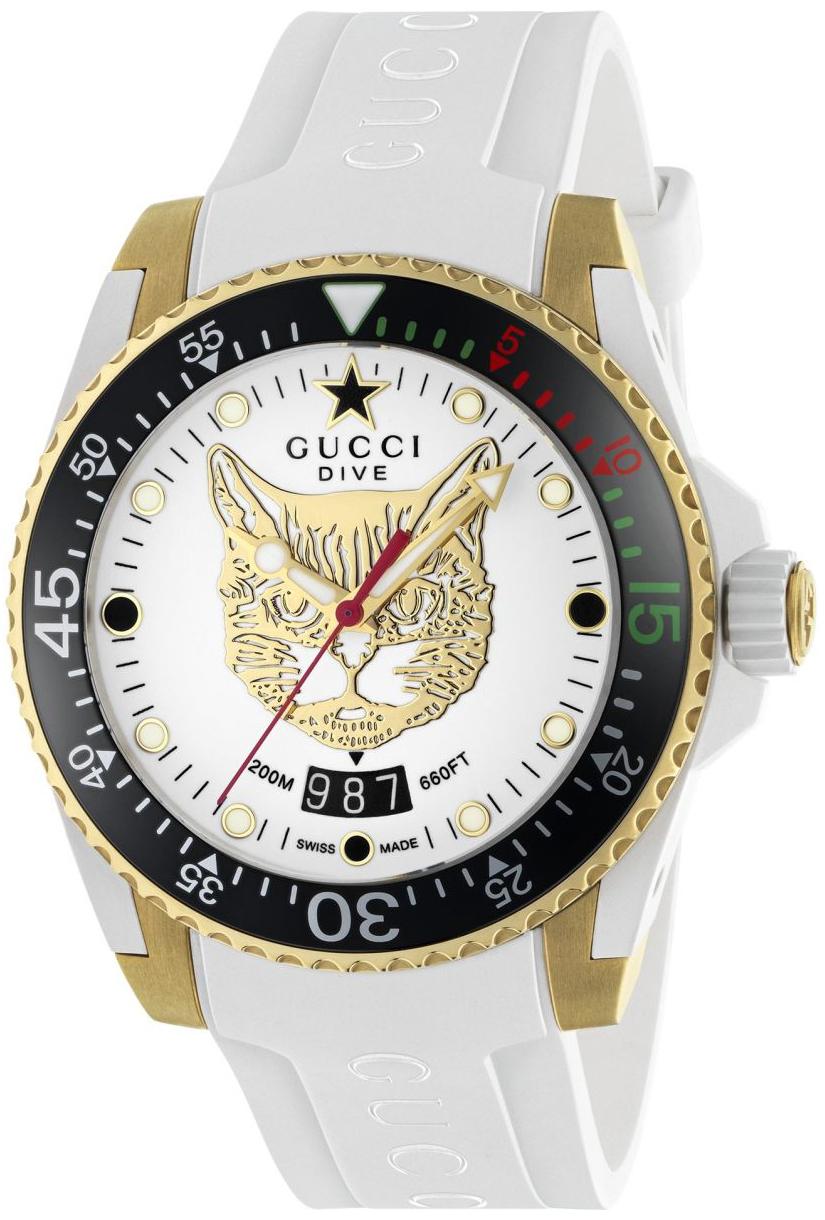 Gucci Dive YA136322 Hvit/Gummi Ø40 mm - Gucci