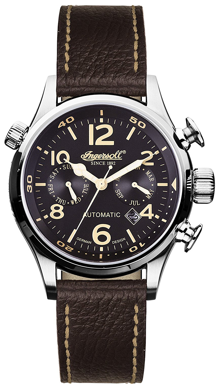 Ingersoll Bull Run Herreklokke IN1809BK Sort/Lær Ø46 mm - Ingersoll