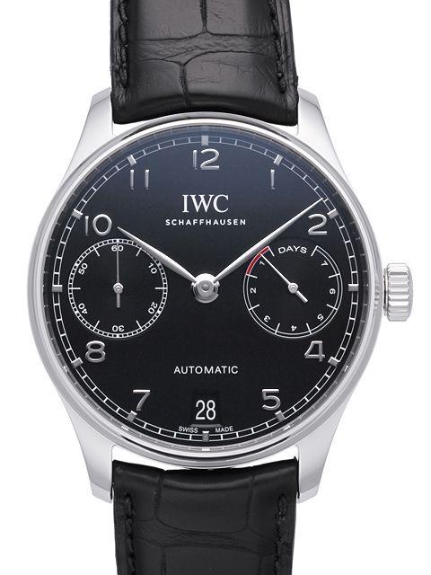 IWC Portuguese Herreklokke IW500703 Sort/Lær Ø42.3 mm - IWC