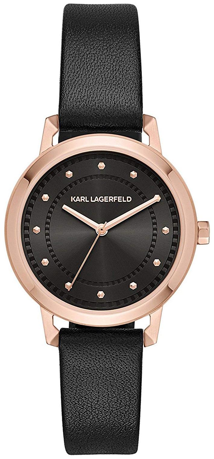 Karl Lagerfeld Vanessa Dameklokke KL1825 Sort/Lær Ø34 mm - Karl Lagerfeld