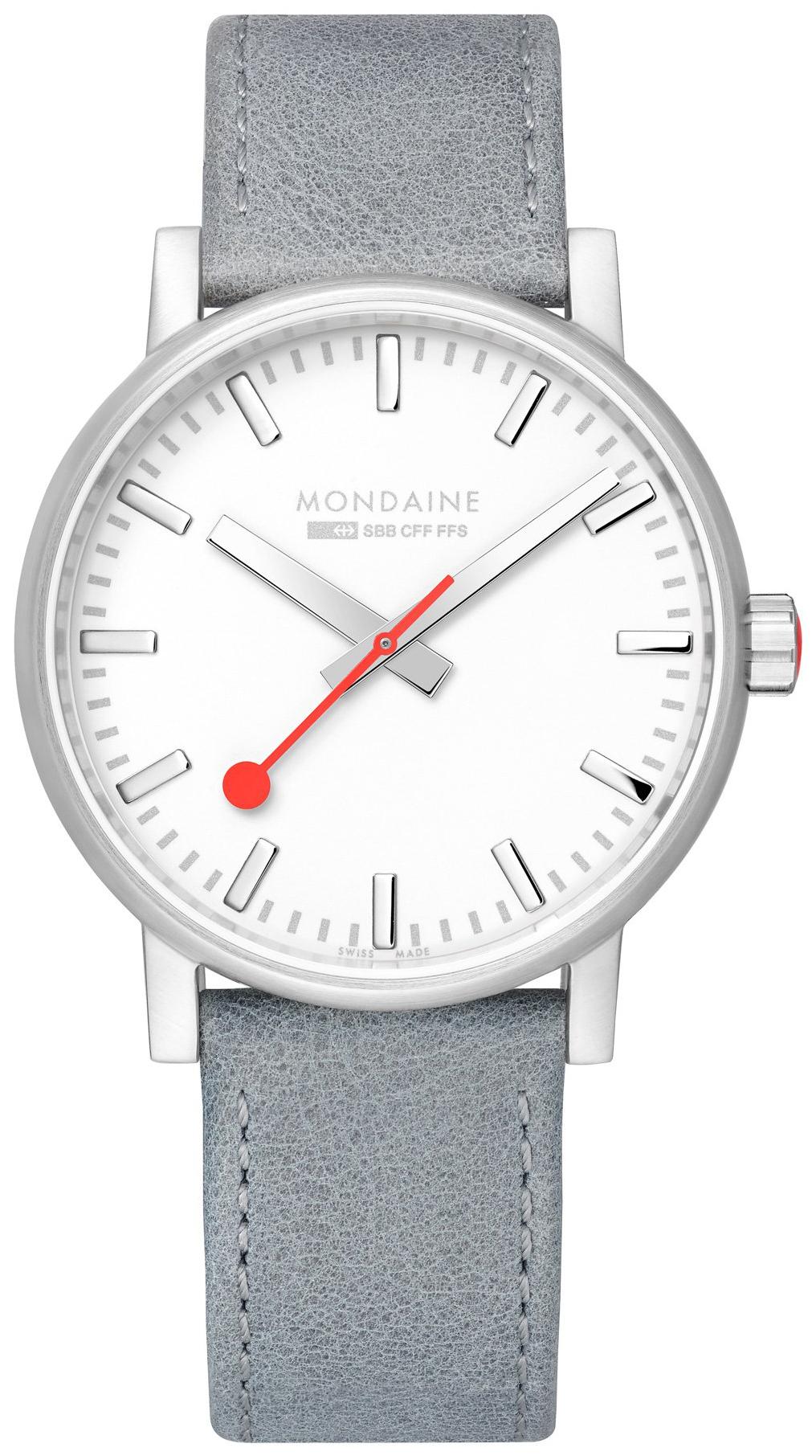 Mondaine 99999 Herreklokke MSE.40110.LH Hvit/Lær Ø40 mm - Mondaine
