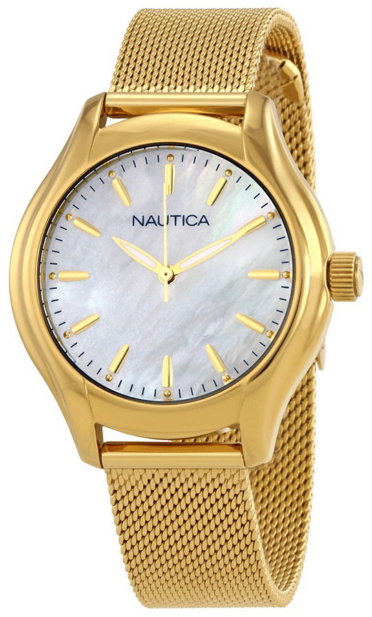 Nautica Analog Dameklokke NAD12546L Hvit/Gulltonet stål Ø35 mm - Nautica
